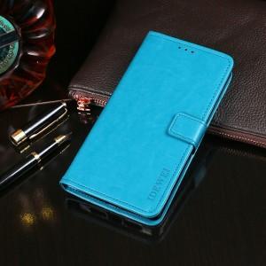 Глянцевый чехол портмоне подставка на силиконовой основе с отсеком для карт на магнитной защелке для Alcatel 5V Голубой