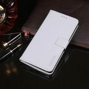 Глянцевый чехол портмоне подставка на силиконовой основе с отсеком для карт на магнитной защелке для Alcatel 5V Белый