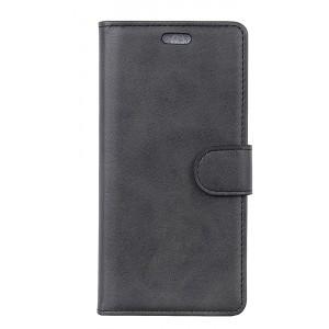 Чехол портмоне подставка на силиконовой основе с отсеком для карт на магнитной защелке для Alcatel 5V  Черный