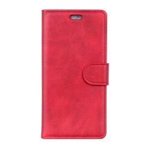 Чехол портмоне подставка на силиконовой основе с отсеком для карт на магнитной защелке для Alcatel 5V  Красный