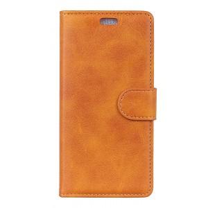 Чехол портмоне подставка на силиконовой основе с отсеком для карт на магнитной защелке для Alcatel 5V  Оранжевый