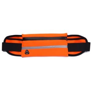 Спортивная влагозащищенная поясная сумка для гаджетов до 6 дюймов с тремя отделениями, отверстием для наушников и светоотражающей полосой на эластичном ремне с застежкой Оранжевый