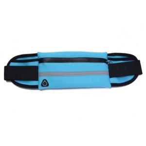 Спортивная влагозащищенная поясная сумка для гаджетов до 6 дюймов с тремя отделениями, отверстием для наушников и светоотражающей полосой на эластичном ремне с застежкой Голубой