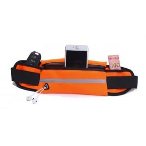 Спортивная влагозащищенная поясная сумка для гаджетов до 6 дюймов с тремя отделениями, отверстием для наушников и светоотражающей полосой на эластичном ремне с застежкой