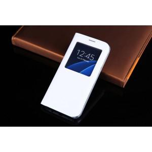 Чехол горизонтальная книжка на пластиковой основе с окном вызова для Samsung Galaxy S7  Белый