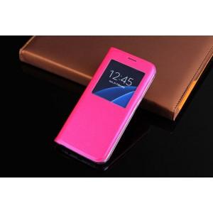 Чехол горизонтальная книжка на пластиковой основе с окном вызова для Samsung Galaxy S7  Пурпурный