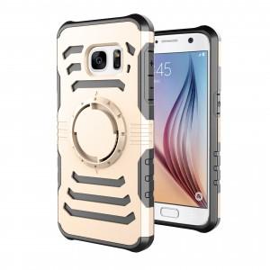 Противоударный двухкомпонентный силиконовый матовый непрозрачный чехол с нескользящими гранями и поликарбонатной крышкой для Samsung Galaxy S7 Бежевый