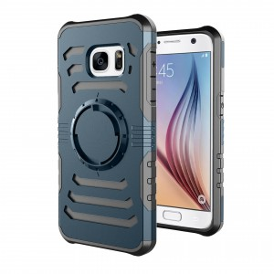 Противоударный двухкомпонентный силиконовый матовый непрозрачный чехол с нескользящими гранями и поликарбонатной крышкой для Samsung Galaxy S7 Синий