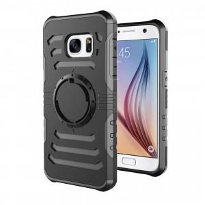 Противоударный двухкомпонентный силиконовый матовый непрозрачный чехол с нескользящими гранями и поликарбонатной крышкой для Samsung Galaxy S7 Черный