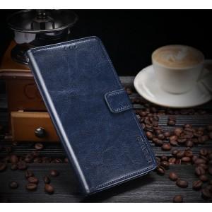 Глянцевый водоотталкивающий чехол портмоне подставка на силиконовой основе с отсеком для карт на магнитной защелке для Samsung Galaxy S9 Plus  Синий