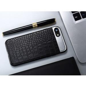 Силиконовый матовый непрозрачный чехол с текстурным покрытием Кожа для Iphone 6/6s  Черный