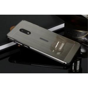 Двухкомпонентный чехол c металлическим бампером с поликарбонатной накладкой с усиленными углами и текстурным покрытием Металл для Nokia 6 Черный