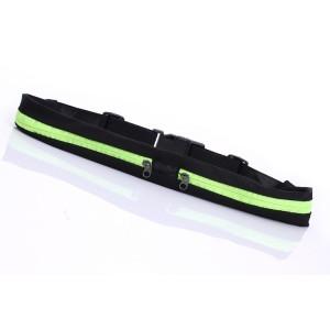 Спортивная поясная сумка из лайкры для гаджетов до 6 дюймов с двумя отделениями на эластичном ремне с застежкой Зеленый