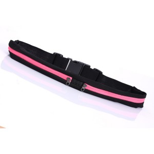 Спортивная поясная сумка из лайкры для гаджетов до 6 дюймов с двумя отделениями на эластичном ремне с застежкой Розовый