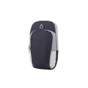 Спортивный наручный чехол-держатель из дышащей ткани для гаджетов 4-6 дюймов с двумя отсеками, вырезом для наушников на мягкой эластичной липучке Черный