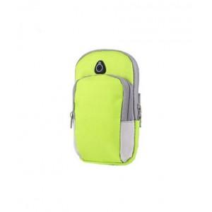 Спортивный наручный чехол-держатель из дышащей ткани для гаджетов 4-6 дюймов с двумя отсеками, вырезом для наушников на мягкой эластичной липучке Зеленый