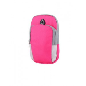Спортивный наручный чехол-держатель из дышащей ткани для гаджетов 4-6 дюймов с двумя отсеками, вырезом для наушников на мягкой эластичной липучке Розовый