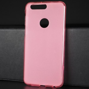 Силиконовый матовый полупрозрачный чехол для Huawei Honor 8 Розовый