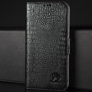Кожаный чехол горизонтальная книжка подставка (премиум нат. кожа крокодила) с крепежной застежкой для Huawei Honor 8 Черный