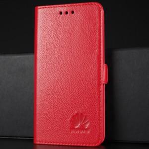 Кожаный чехол горизонтальная книжка подставка (премиум нат. кожа) с крепежной застежкой для Huawei Honor 8 Красный