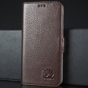 Кожаный чехол горизонтальная книжка подставка (премиум нат. кожа) с крепежной застежкой для Huawei Honor 8 Коричневый