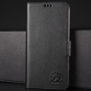 Кожаный чехол горизонтальная книжка подставка (премиум нат. кожа) с крепежной застежкой для Huawei Honor 8 Черный