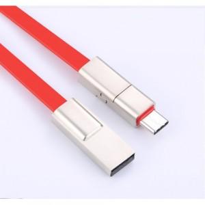 Интерфейсный антизапутываемый силиконовый кабель плоского сечения Lightning 1.5м разборного типа для многоразового использования Красный