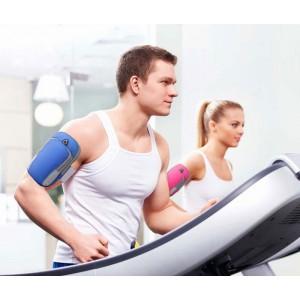 Спортивный наручный чехол-держатель из дышащей ткани для гаджетов 4-6 дюймов с двумя отсеками, вырезом для наушников на мягкой эластичной липучке