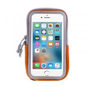 Спортивный влагозащищенный наручный чехол-держатель из дышащей ткани для гаджетов от 5 до 6 дюймов с активной защитной пленкой и отверстием для наушников Оранжевый