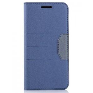 Чехол горизонтальная книжка подставка на силиконовой основе с отсеком для карт и тканевым покрытием для HTC 10 Синий