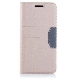 Чехол горизонтальная книжка подставка на силиконовой основе с отсеком для карт и тканевым покрытием для HTC 10 Бежевый