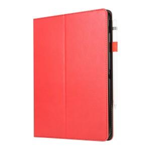Сегментарный чехол книжка подставка на непрозрачной силиконовой основе с крепежом для стилуса, отсеком для карт и поддержкой кисти для IPad Pro 11 Красный