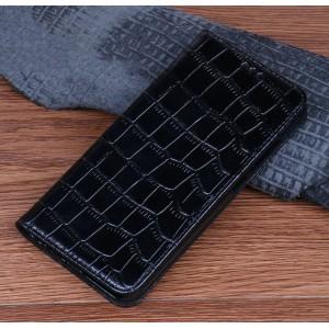 Кожаный чехол горизонтальная книжка подставка (премиум нат. кожа рептилии) для ASUS ZenFone Max Pro M1 Черный