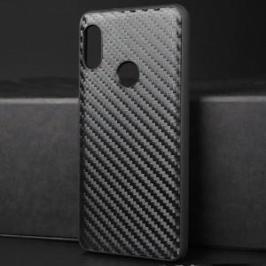 Силиконовый матовый непрозрачный чехол с текстурным покрытием Карбон для Xiaomi RedMi Note 5 Черный