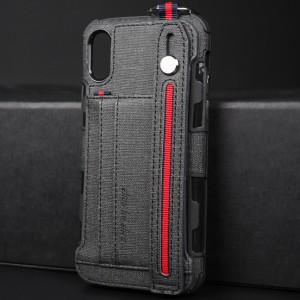 Силиконовый матовый непрозрачный чехол с ремешком на руку, кольцом-держателем и текстурным покрытием Ткань для Iphone x10/xs Черный