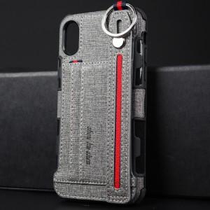 Силиконовый матовый непрозрачный чехол с ремешком на руку, кольцом-держателем и текстурным покрытием Ткань для Iphone x10/xs Серый