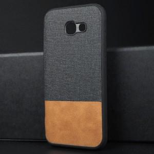 Силиконовый матовый непрозрачный чехол с текстурным покрытием Ткань для Samsung Galaxy A5 (2017) Черный