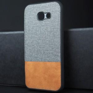 Силиконовый матовый непрозрачный чехол с текстурным покрытием Ткань для Samsung Galaxy A5 (2017) Серый