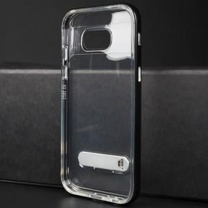 Двухкомпонентный силиконовый глянцевый транспарентный чехол с поликарбонатным бампером и встроенной ножкой-подставкой для Samsung Galaxy A5 (2017) Черный