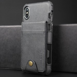 Силиконовый матовый непрозрачный чехол с текстурным покрытием Ткань и внешним отсеком для карт на крепежной застежке для Iphone x10/XS Черный