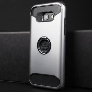 Противоударный двухкомпонентный силиконовый матовый непрозрачный чехол с поликарбонатными вставками экстрим защиты с встроенным кольцом-подставкой для Samsung Galaxy A5 (2017) Серый