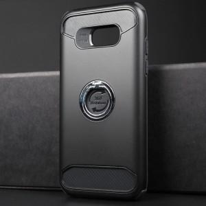 Противоударный двухкомпонентный силиконовый матовый непрозрачный чехол с поликарбонатными вставками экстрим защиты с встроенным кольцом-подставкой для Samsung Galaxy A5 (2017) Черный