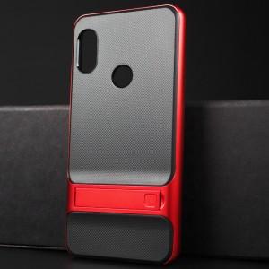 Двухкомпонентный силиконовый матовый непрозрачный чехол с поликарбонатным бампером, встроенной ножкой-подставкой и текстурным покрытием Точки для Xiaomi RedMi Note 5 Красный
