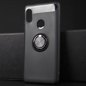 Силиконовый матовый непрозрачный чехол с встроенным кольцом-подставкой для Xiaomi RedMi Note 5 Черный