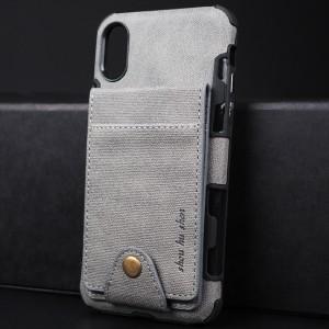 Силиконовый матовый непрозрачный чехол с текстурным покрытием Ткань и внешним отсеком для карт на крепежной застежке для Iphone x10/XS Серый