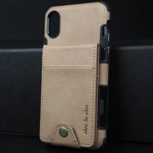 Силиконовый матовый непрозрачный чехол с текстурным покрытием Ткань и внешним отсеком для карт на крепежной застежке для Iphone x10/XS Бежевый