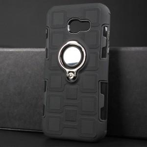 Противоударный двухкомпонентный силиконовый матовый непрозрачный чехол с поликарбонатными вставками экстрим защиты с встроенным кольцом-подставкой и текстурным покрытием Узоры для Samsung Galaxy A5 (2017) Черный
