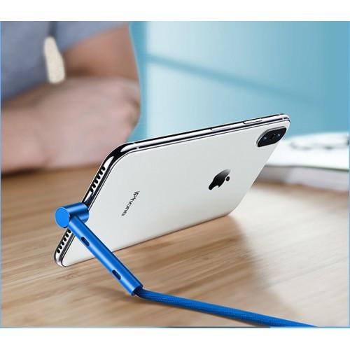 Интерфейсный кабель Lightning в тканевой оплетке 1.2м с угловым разъемом и функцией подставки Синий