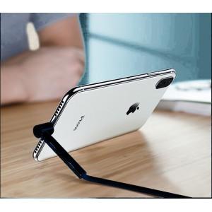 Интерфейсный кабель Lightning в тканевой оплетке 1.2м с угловым разъемом и функцией подставки Черный