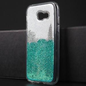 Силиконовый глянцевый транспарентный чехол с внутренней аква-аппликацией для Samsung Galaxy A5 (2017) Голубой
